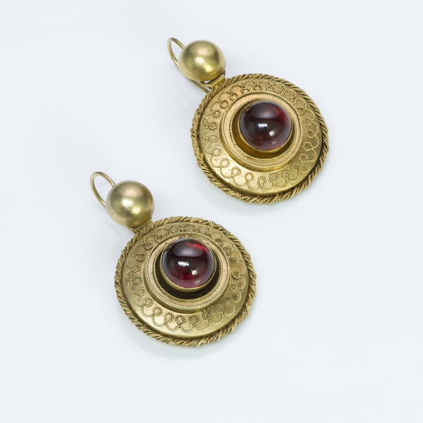 Antique Victorian Yellow Gold Garnet Earrings