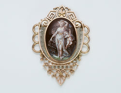 Antique Enamel Brooch Pendant