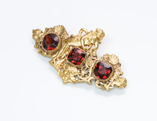 Antique Garnet G. Accarisi Firenze Cherub Brooch