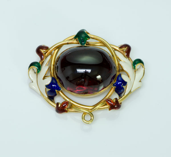 Antique Victorian Garnet Enamel Gold Brooch