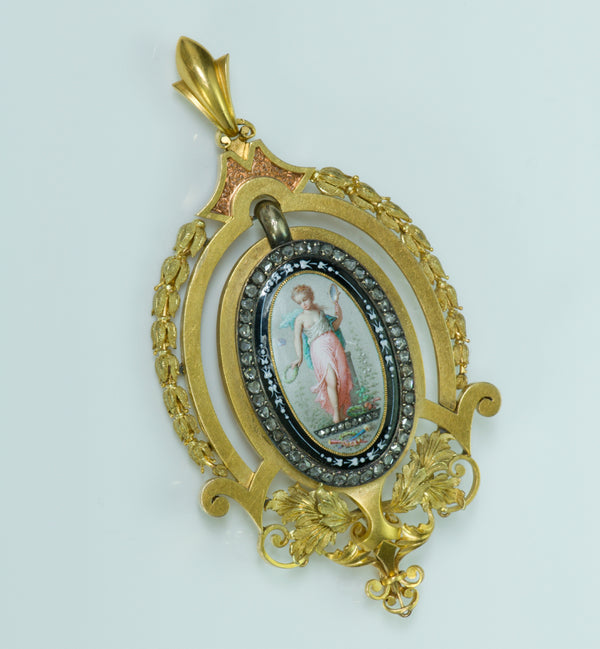 Antique Victorian Gold Enamel Diamond Pendant
