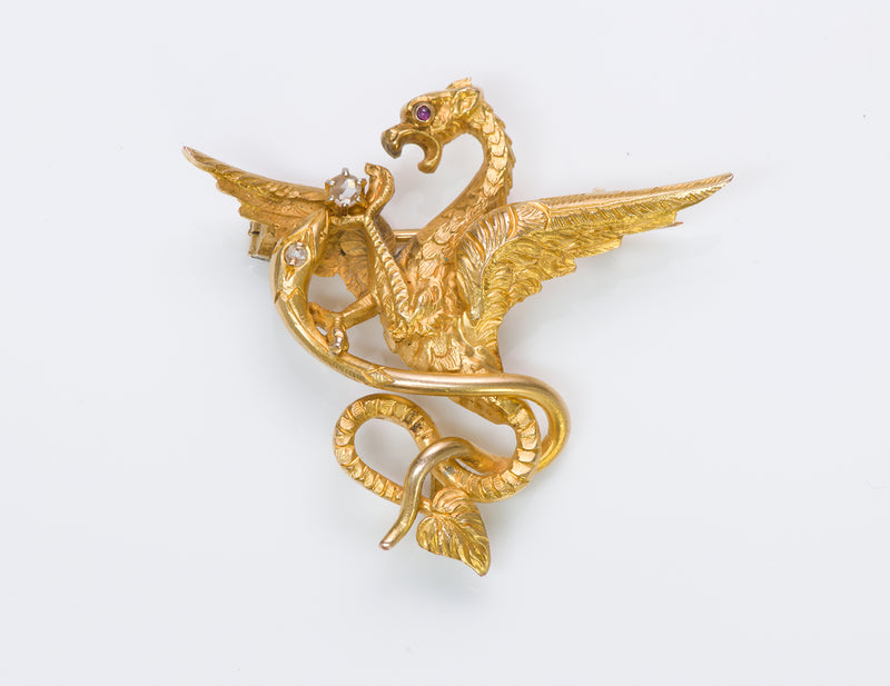 Antique Gold Griffin Brooch