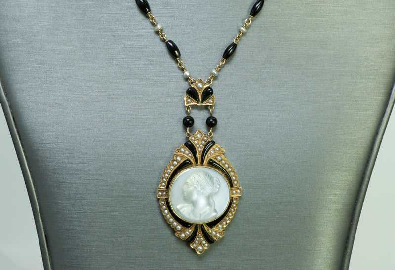 Antique Moonstone Cameo Gold Pearl Enamel Pendant