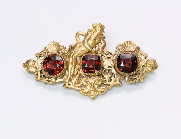 Antique G. Accarisi Firenze Garnet Cherub Brooch