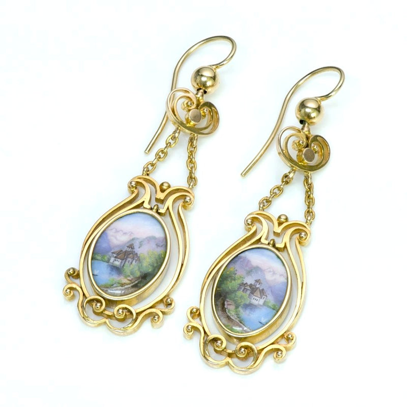 Antique Swiss Enamel Yellow Gold Earrings