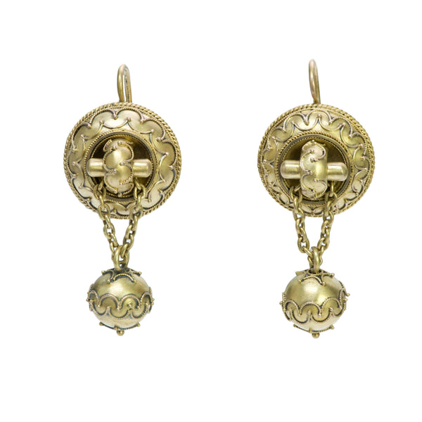 Antique Victorian Etruscan 14K Yellow Gold Earrings