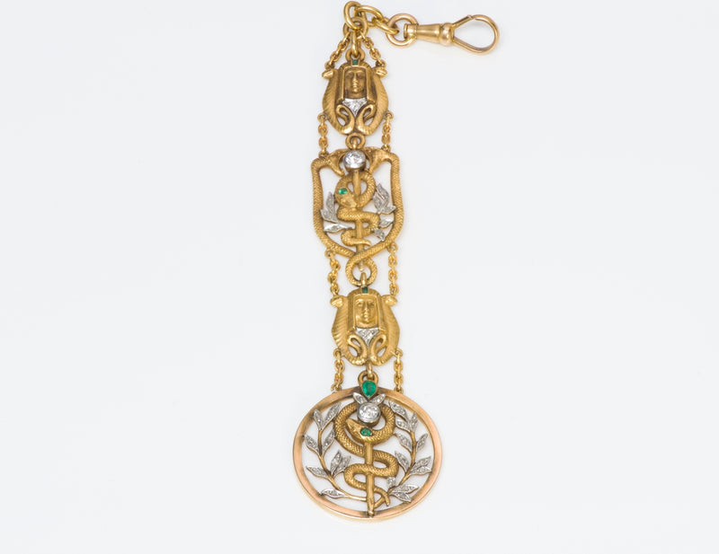 Art Nouveau Diamond Egyptian Revival Watch Fob