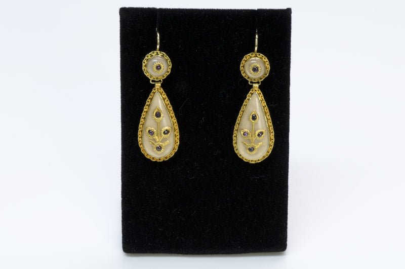 Victorian Gold Ruby Earrings