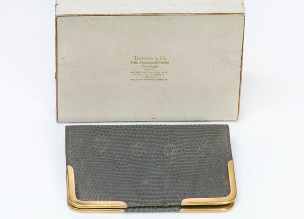 Antique Tiffany & Co. Gray Lizard 18K Gold Corners Bifold Wallet