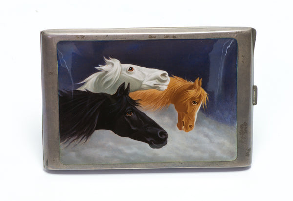 Antique Silver Enamel 3 Horse Cigarette Case