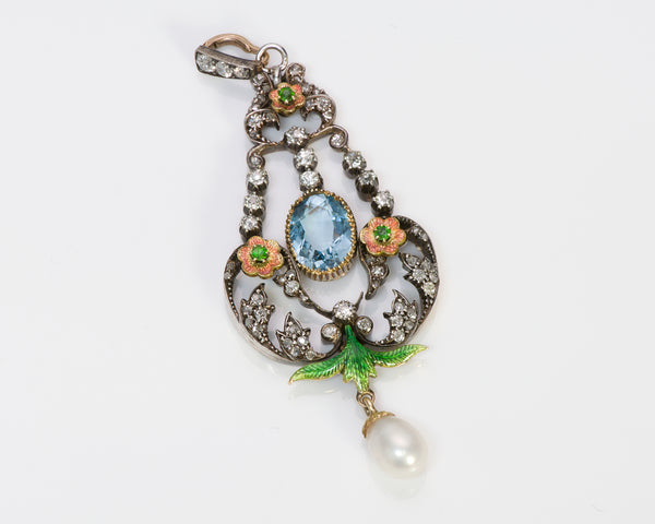 Antique Demantoid Pearl Pendant