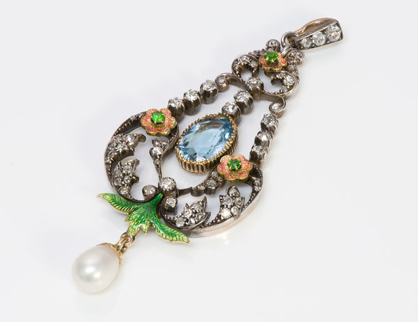 Antique Aquamarine Diamond Demantoid Pearl Pendant