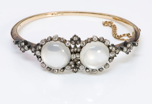 Antique Austrian Gold Diamond & Moonstone Bracelet