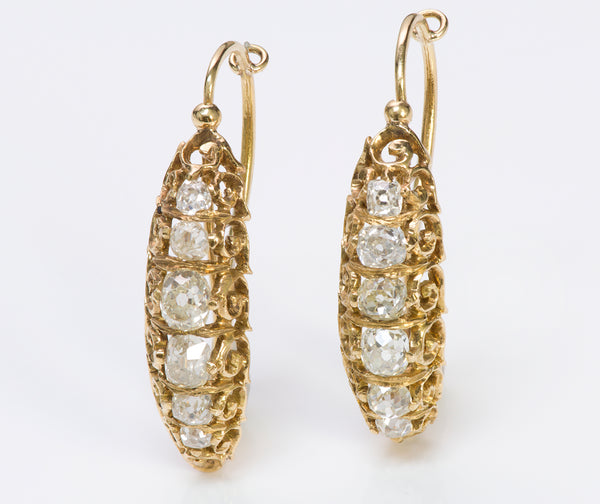 Antique Victorian Gold Diamond Hoop Earrings