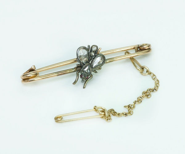 Antique Fly Gold Diamond Brooch Pin