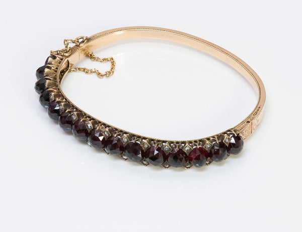 Antique Gold Garnet Diamond Bangle Bracelet