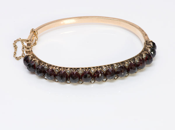 Antique Gold Garnet Rose Cut Diamond Bangle Bracelet