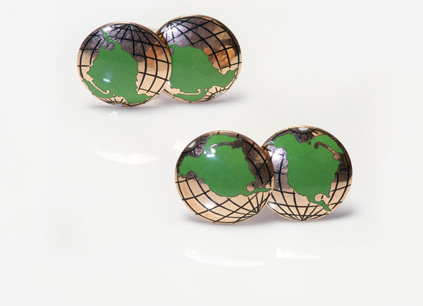 Antique Enamel Globe Map Cufflinks