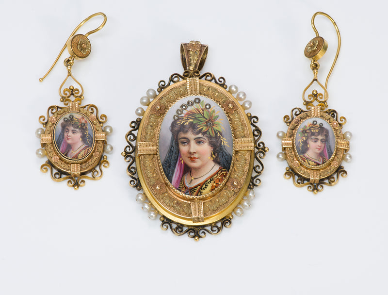 Antique Victorian Gold Pearl Diamond Portrait Enamel Suite