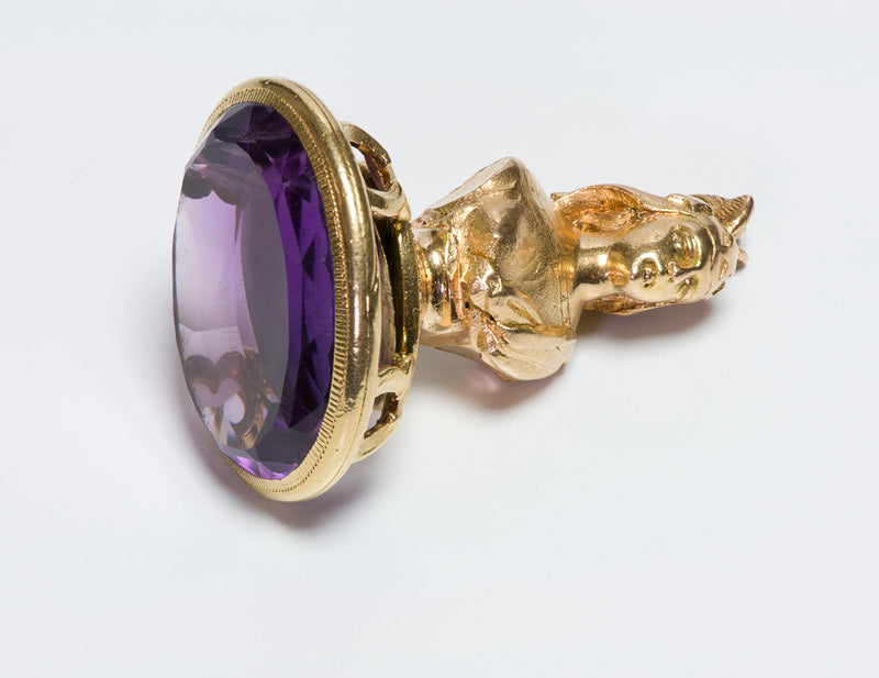 Antique Gold Amethyst Figural Fob