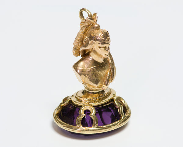 Antique Gold Amethyst Figural Fob Seal