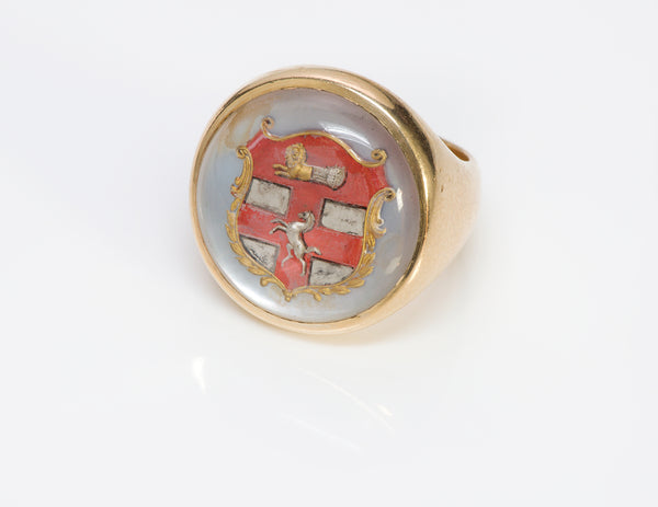 Antique Men's Gold Reverse Crystal Crest Ring