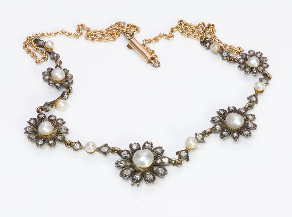 Antique Natural Pearl Silver Gold Diamond Necklace