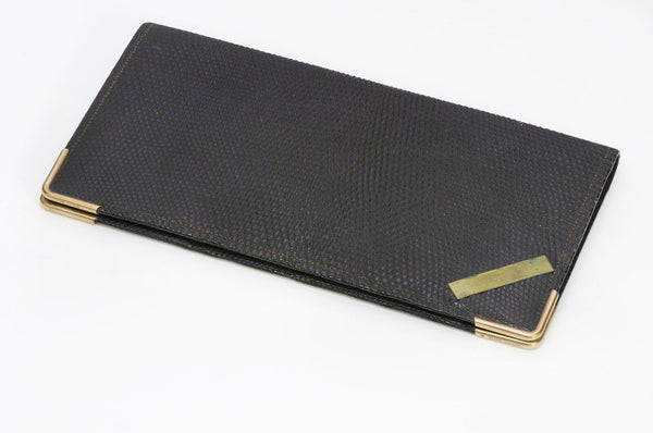 Antique Tiffany & Co Black Lizard 14K Gold Bifold Wallet