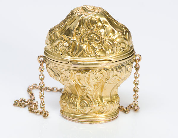 Antique Repousse Gold Vinaigrette