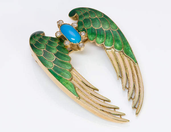 Antique Gold Enamel Turquoise Diamond Wings Brooch Pin