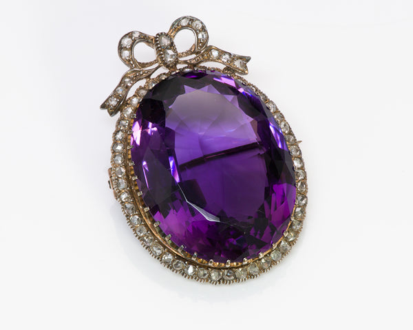 Antique Amethyst Rose Diamond Brooch