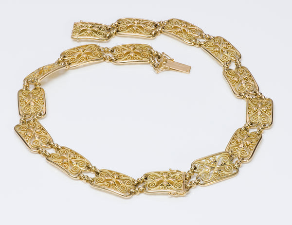 Art Nouveau French 18K Gold Necklace Bracelet