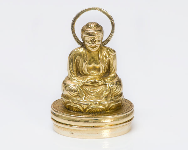 Antique Buddha 18K Yellow Gold Pendant Seal
