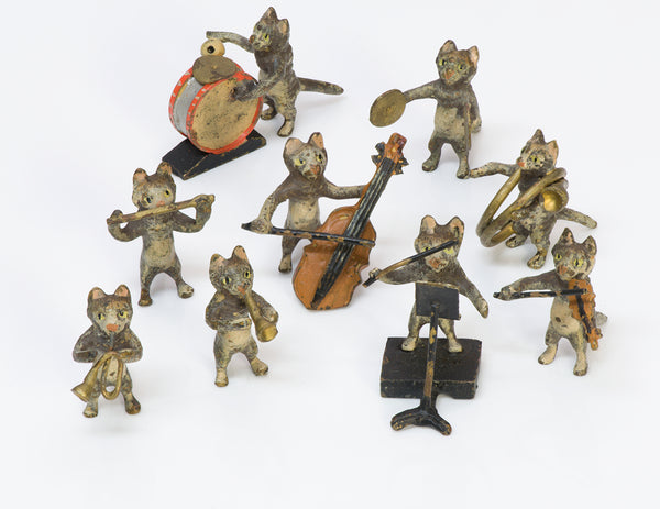 Antique Vienna Bronze Miniature Cat Band Orchestra