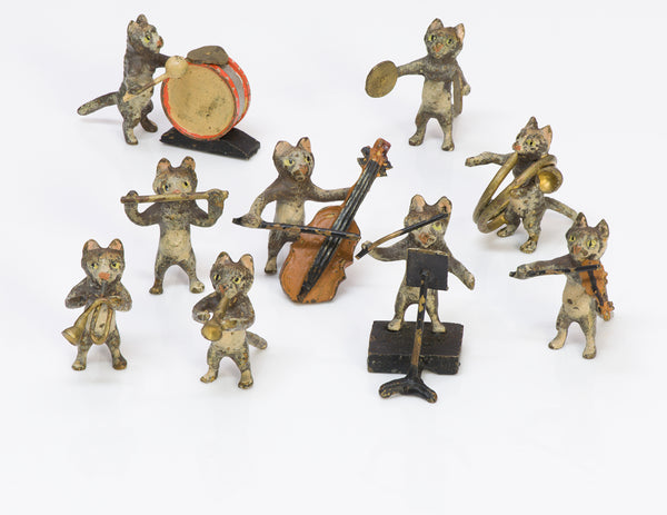 Antique Vienna Bronze Miniature Cat Orchestra Band