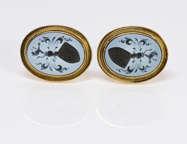 Antique Agate Intaglio Gold Crest Cufflinks 2