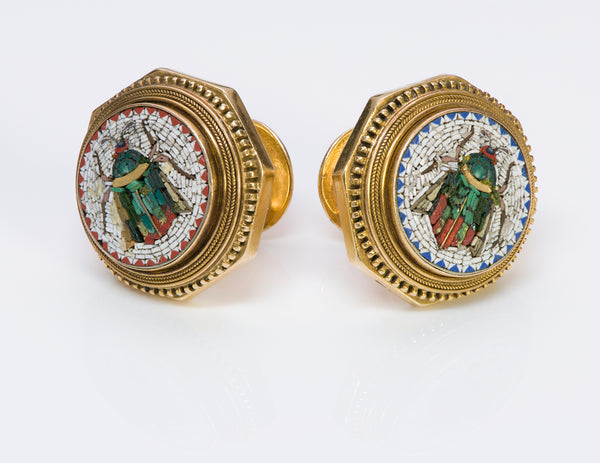 Antique Gold Micro-Mosaic Buttons Cufflinks 2