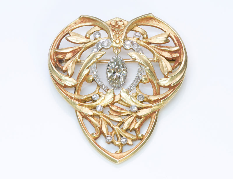 Art Nouveau Diamond 18K Gold Brooch