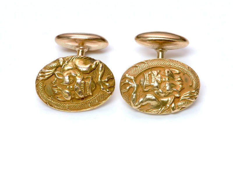Gold Dragon Cufflinks Antique