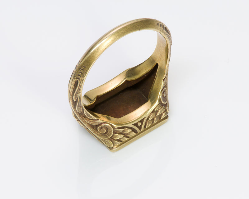 Antique Egyptian Revival Carved Gold Signet Ring 4
