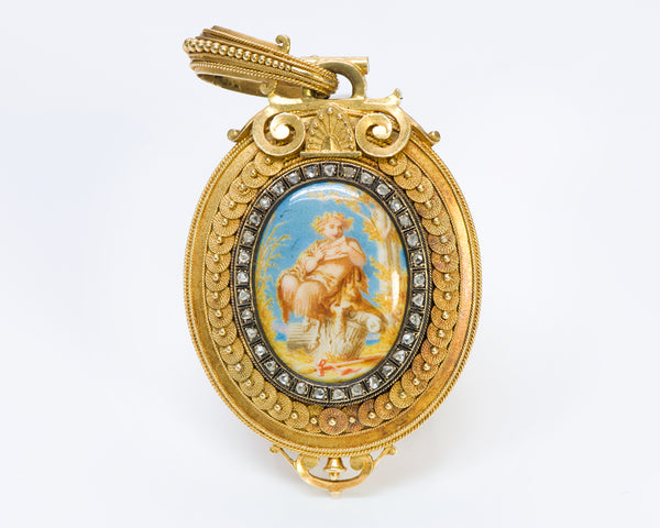 Eugène Fontenay Antique 18K Gold Enamel Diamond Pendant Locket