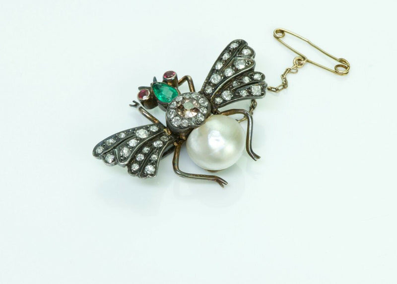 Antique French Diamond Emerald Pearl Ruby Fly Pin Brooch