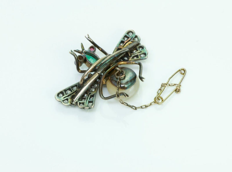 Antique Diamond Emerald Pearl Ruby Silver Fly Pin Brooch