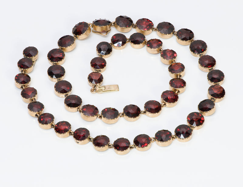 Antique Victorian Gold Garnet Necklace