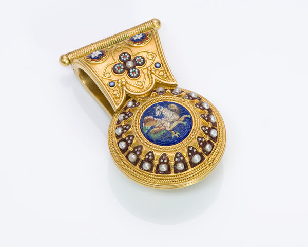 Antique 18K Gold Mosaic Bulla Pendant