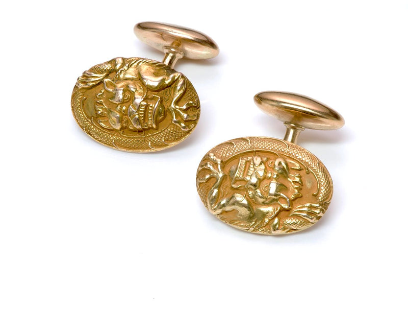 Antique Yellow Gold Dragon Cufflinks