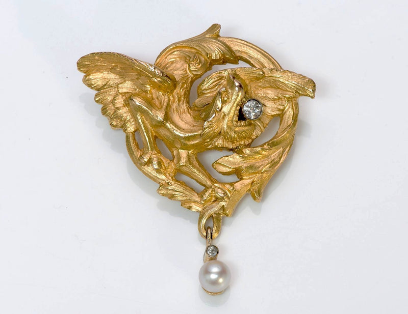 Antique Gold Diamond Pearl Griffin 2