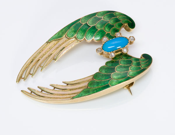Antique Gold Enamel Turquoise Diamond Wings Brooch
