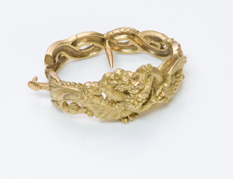 French Art Nouveau Gold Griffin Scarf Clip