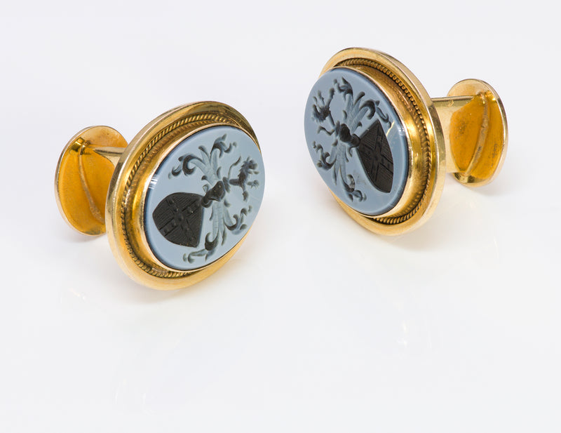 Antique Agate Intaglio Crest Gold Cufflinks